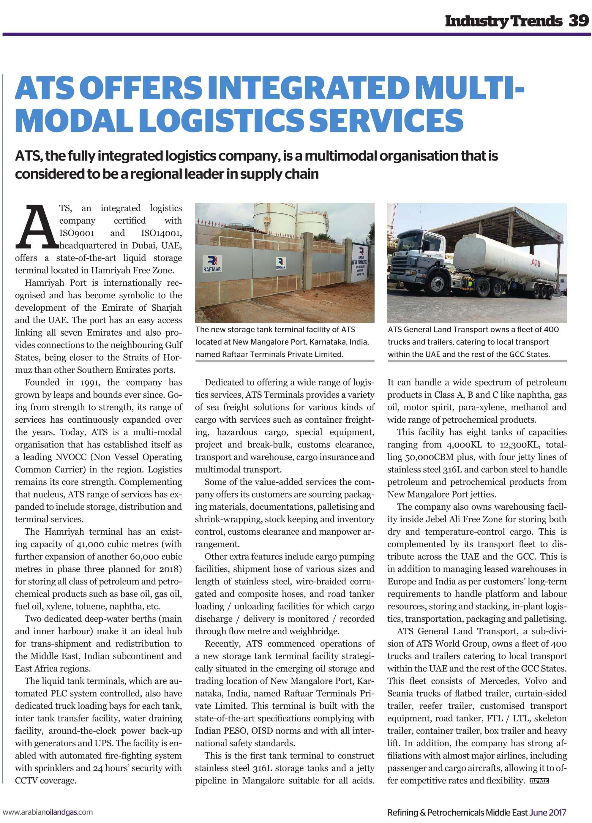 ATS OFFERS INTEGRATED MULTI-MODAL LOGISTICS SERVICES – ATS
